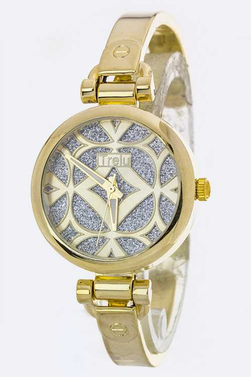 Glitter Fully Dial Cover Skinny Bangle Watch