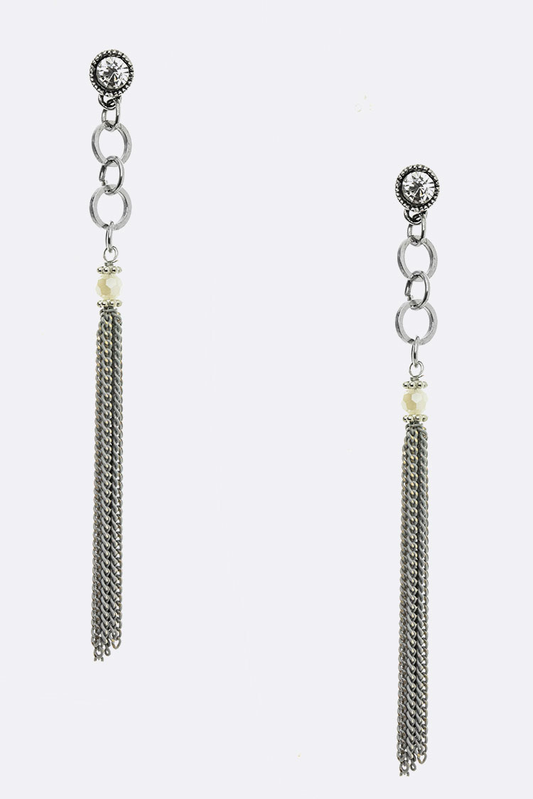 Chain Tassel Long Drop Earrings