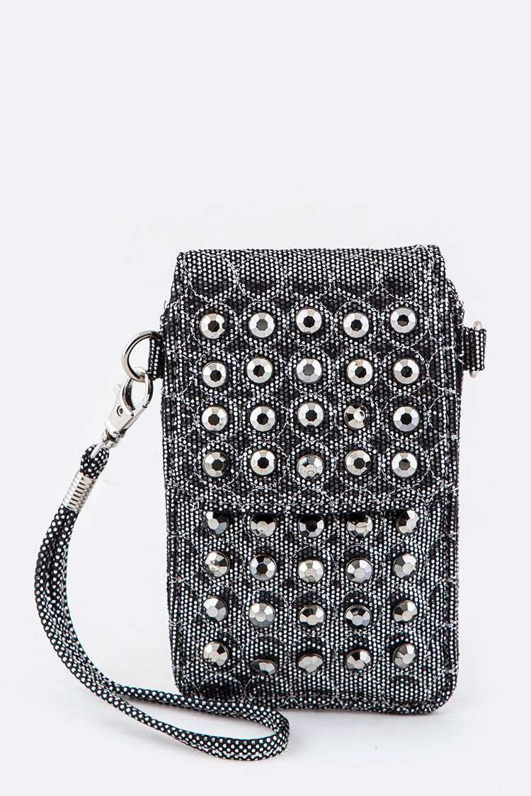 Crystal Studs Convertible Mini Pouch