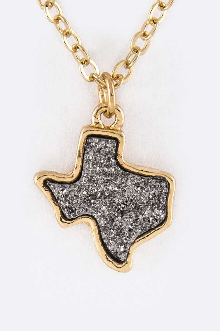 Texas Map Druzy Pendant Necklace
