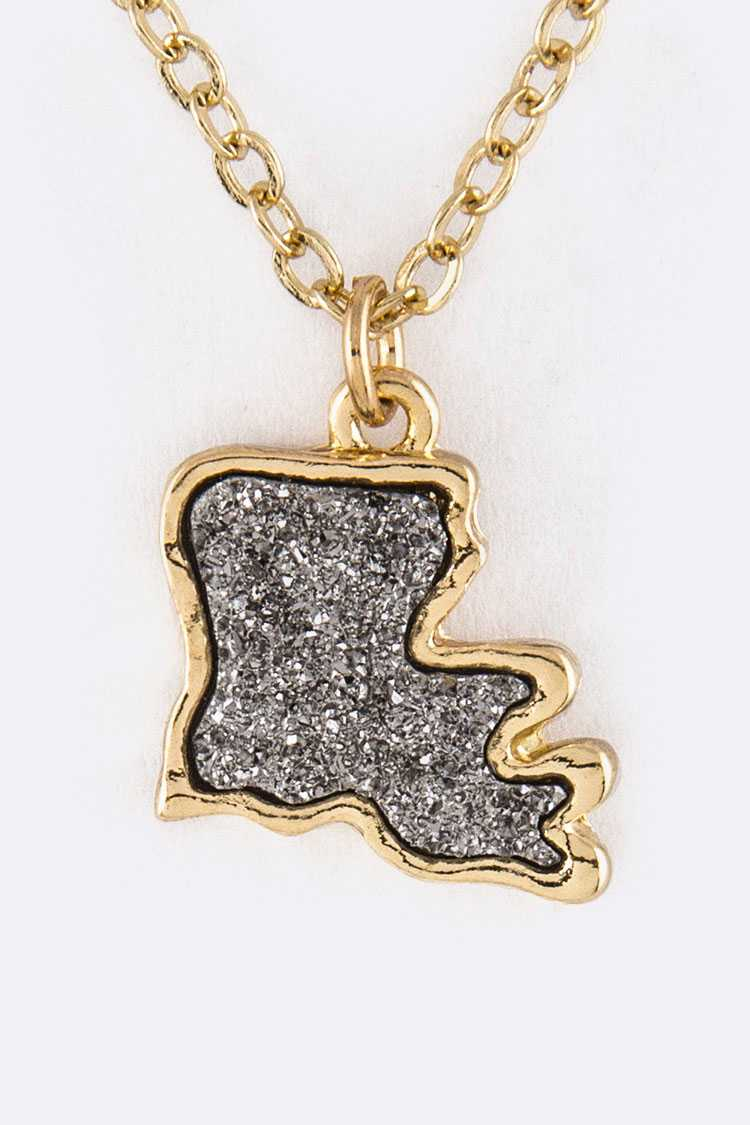 Louisiana Map Druzy Pendant Necklace