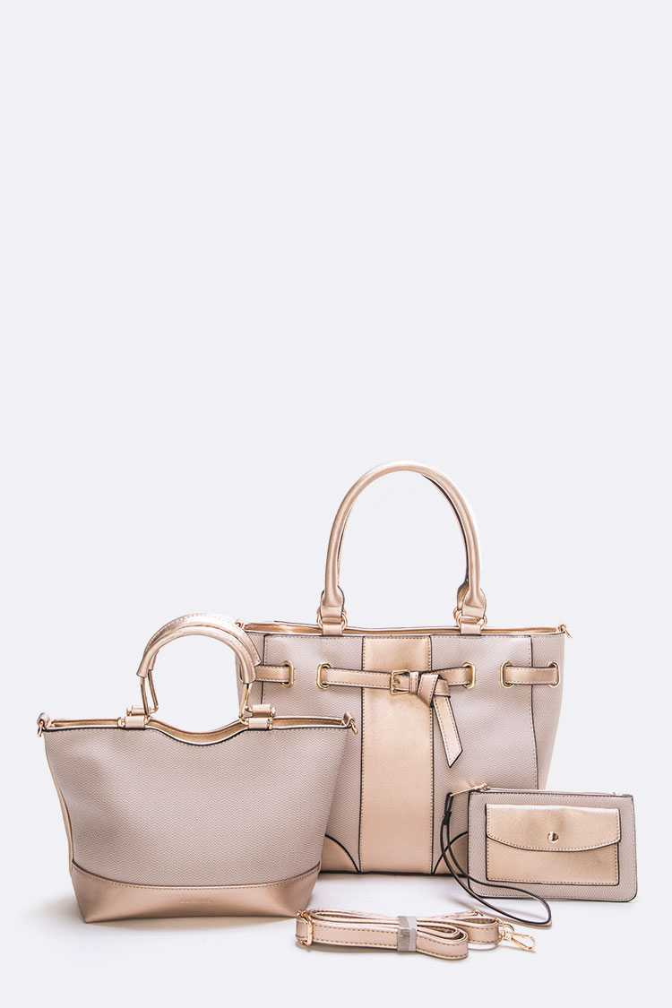 3 In 1 2 Tone Pearlized Satchel Bag Set