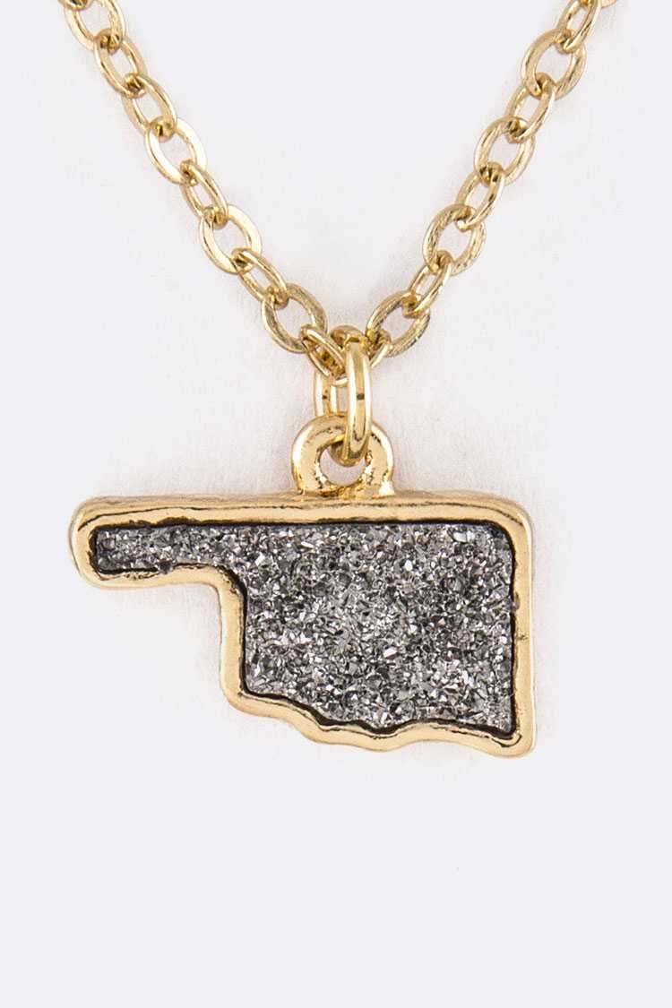 Oklahoma Map Druzy Pendant Necklace