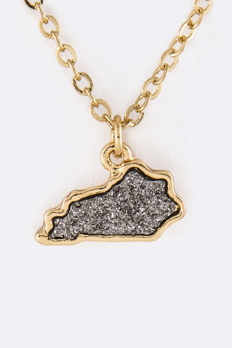 Kentucky Map Druzy Pendant Necklace