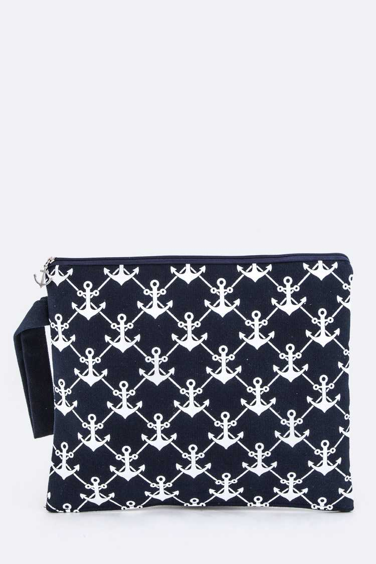 Anchor Printed Canvas Wristlet Pouch