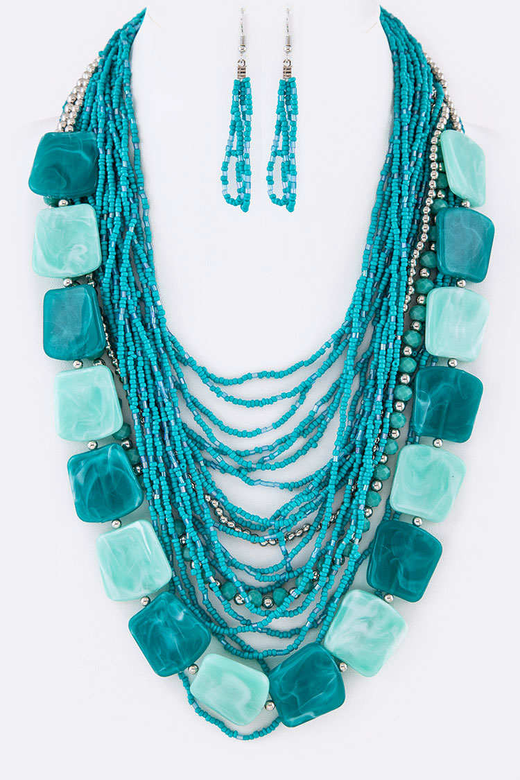 Mix Beads Layered Necklace Set