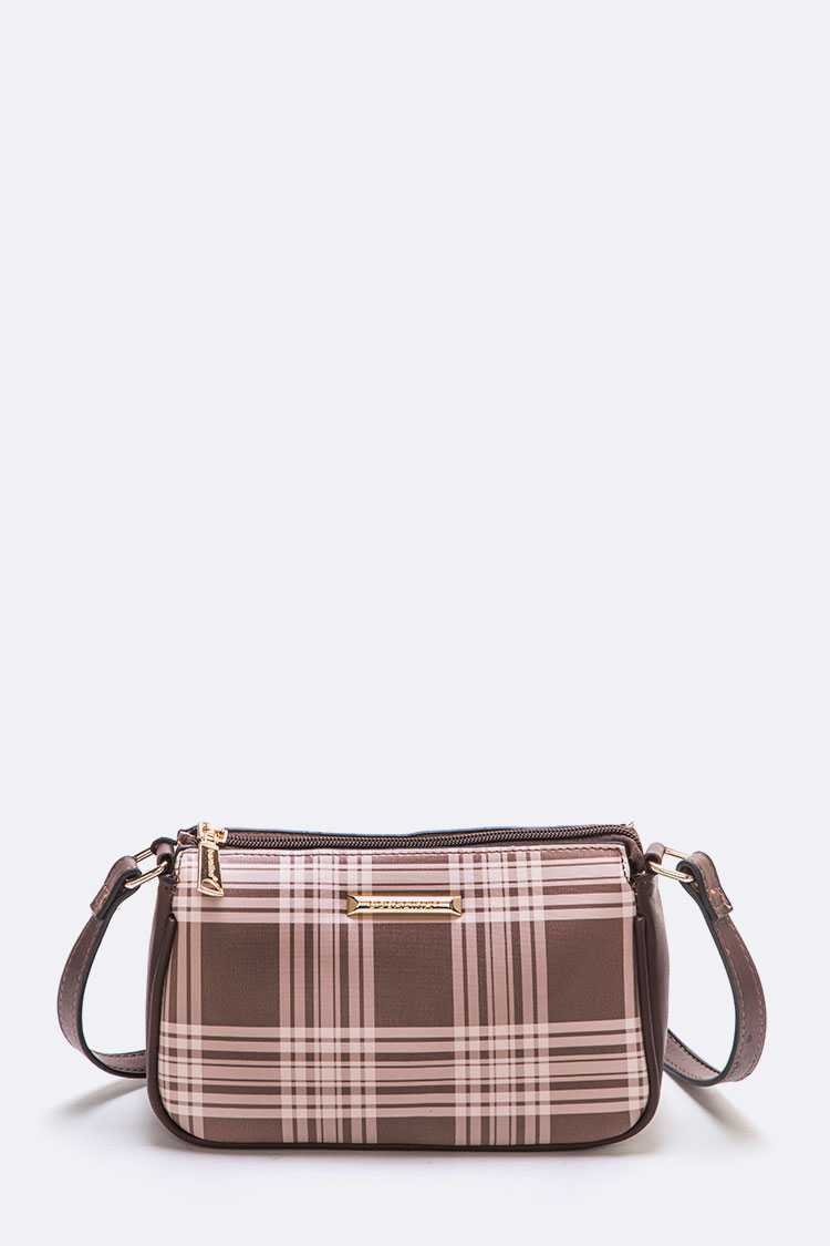 Plaid Printed Crossbody Bag