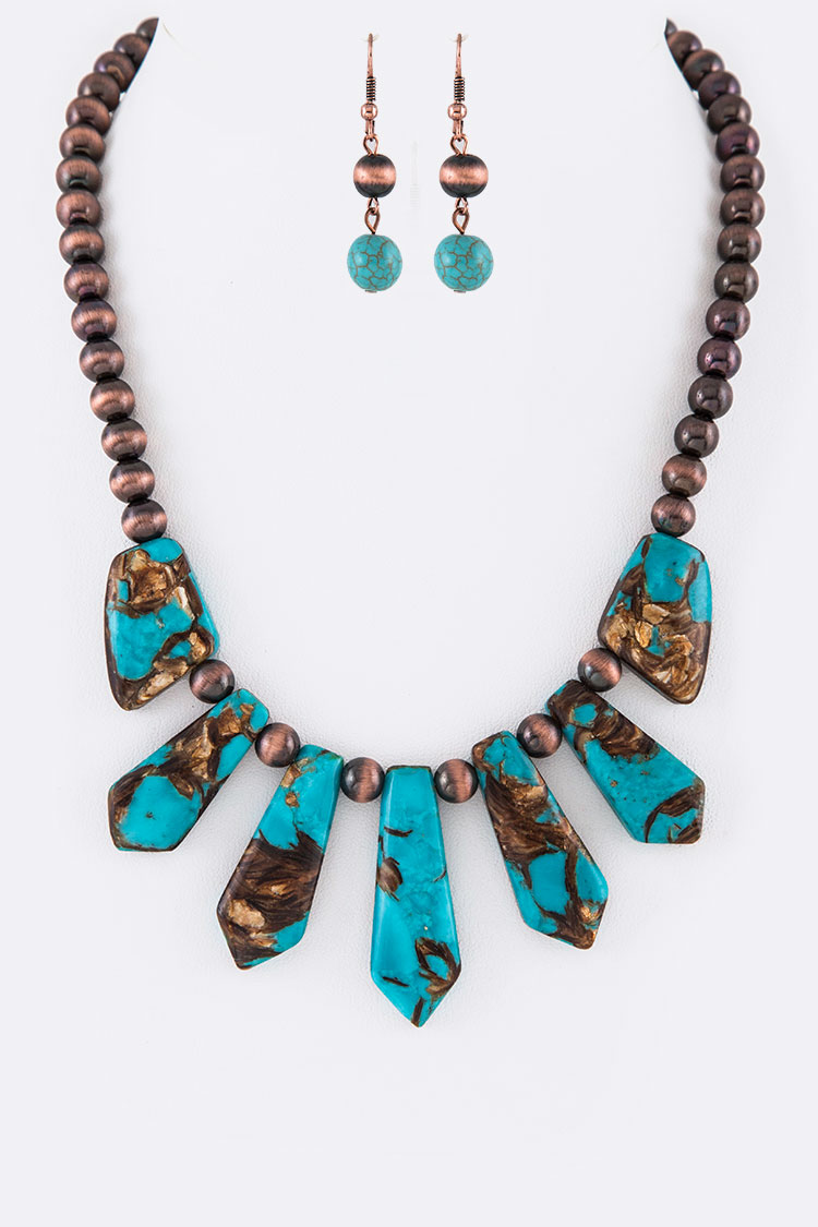 Genuine Stone Navajo Beads Necklace Set