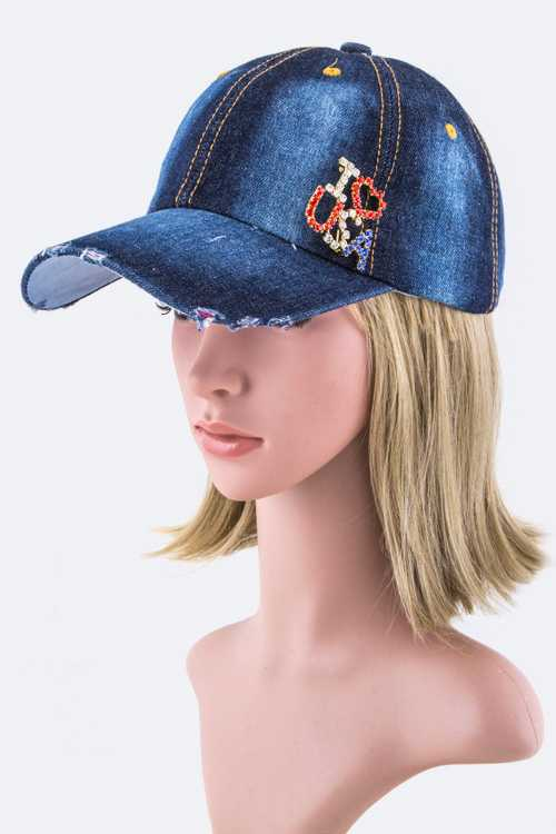 I LOVE USA Crystal Pin Denim Cap