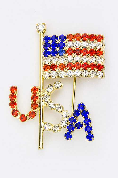 U.S.A Crystal Flag Brooch