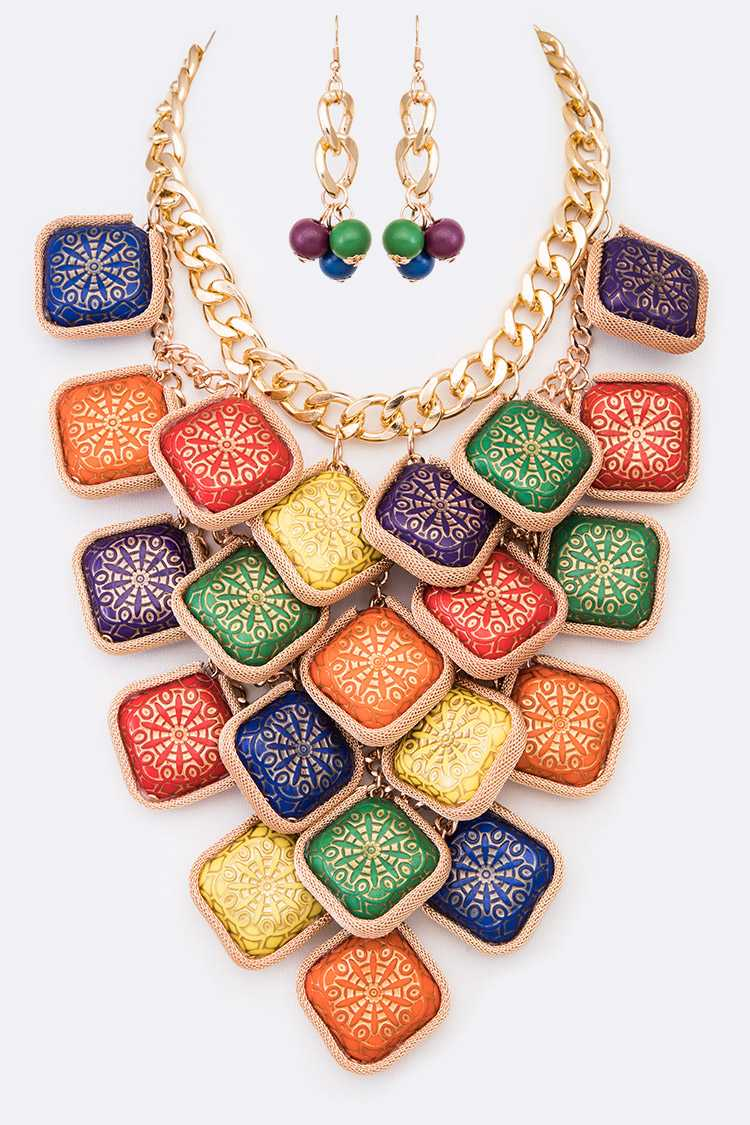 Mix Color Wooden Block Statement Necklace Set