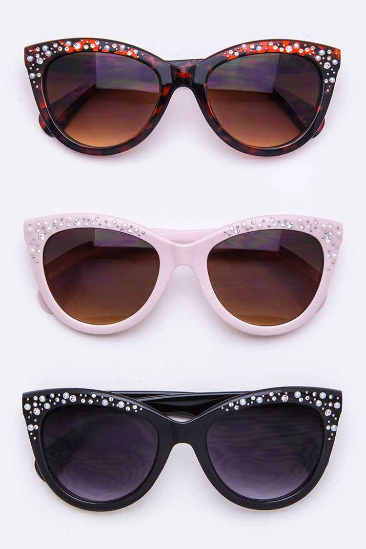 Paved Crystal & Pearl Cat Eye Sunglasses