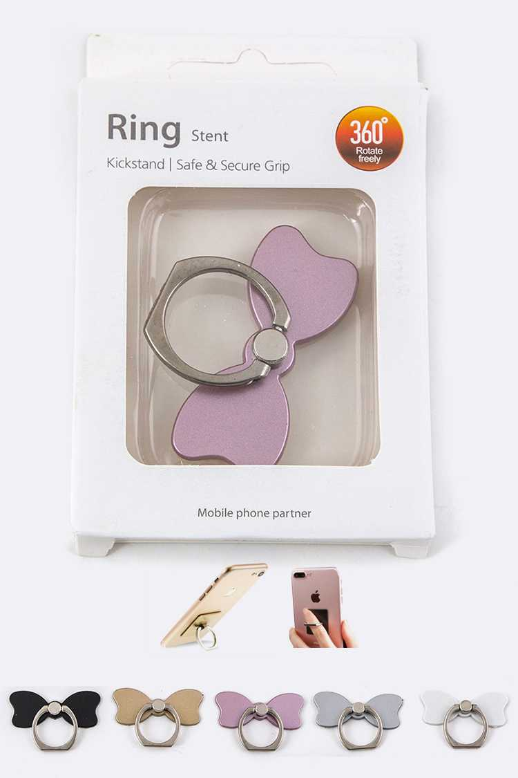 Bow Finger Ring Smartphone Stands Set