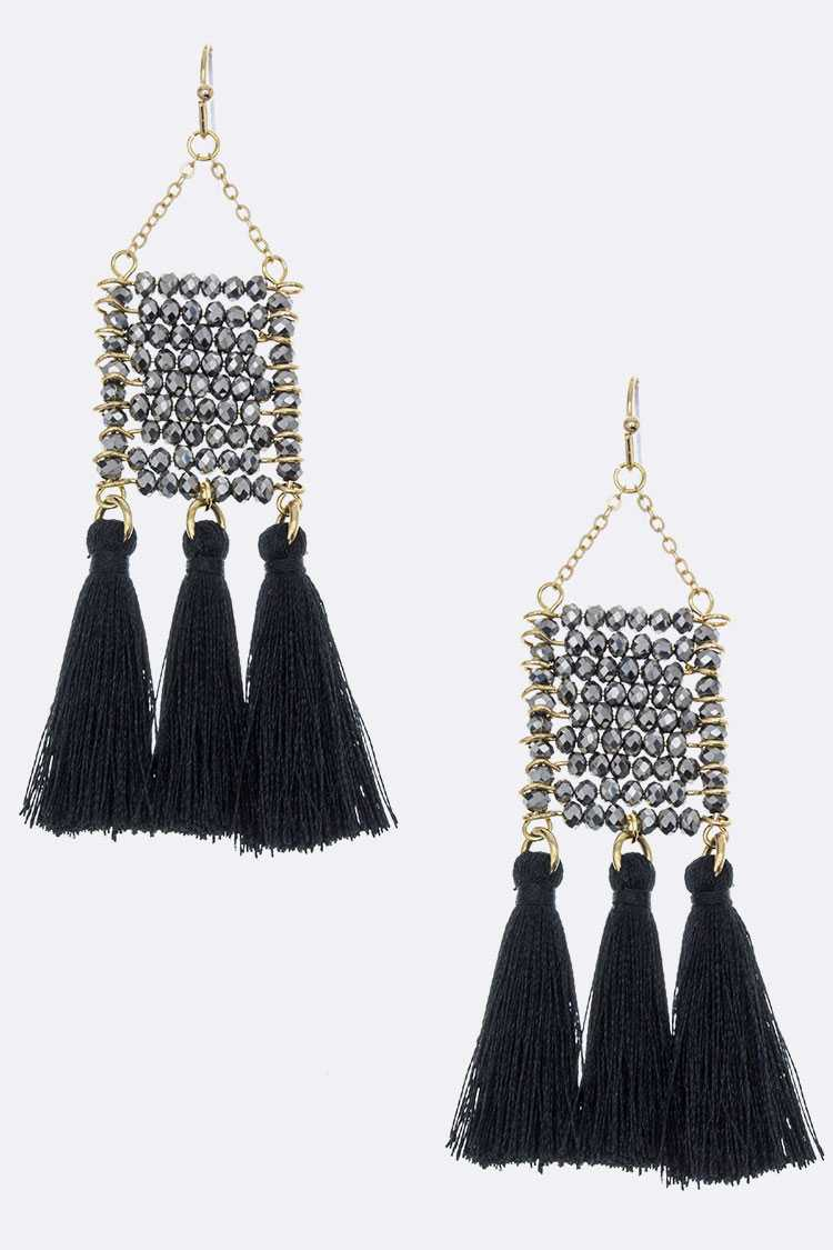 Wired Bead & Tassel Earrings