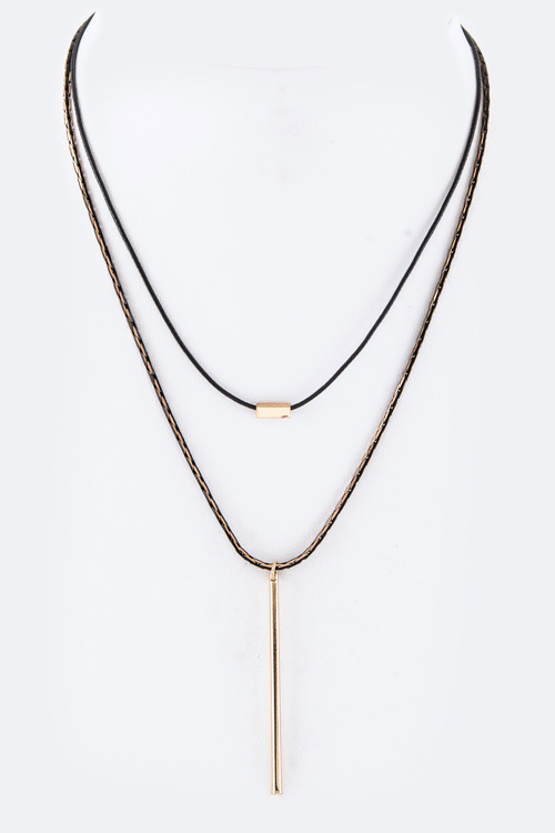 Metal Bar Pendant Layer Necklace