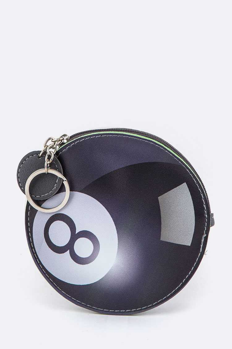 Billiard Ball Coin Purse Key Charm