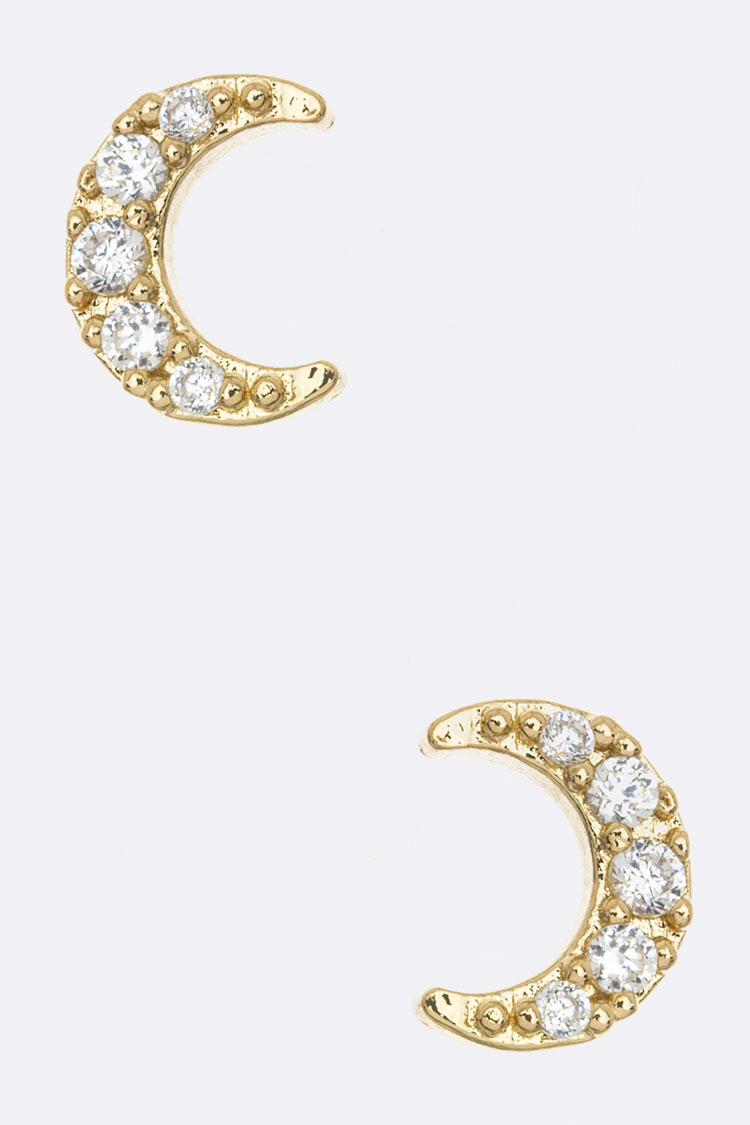 CZ Crescent Stud Earrings