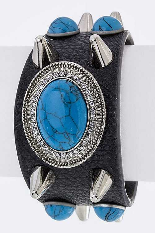 Oval Stone & Spikes Faux Leather Cuff