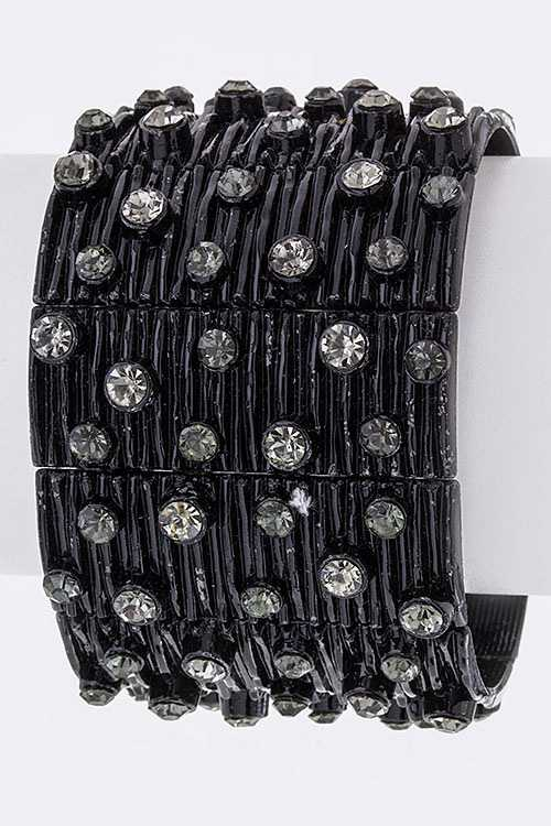 Edging Textured Crystal Stretch Bracelet