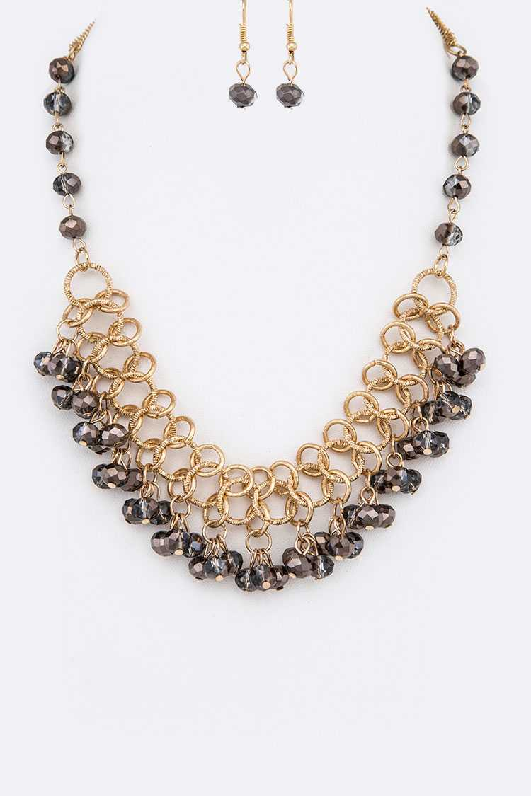 Crystal Drop Fashion Necklace Set