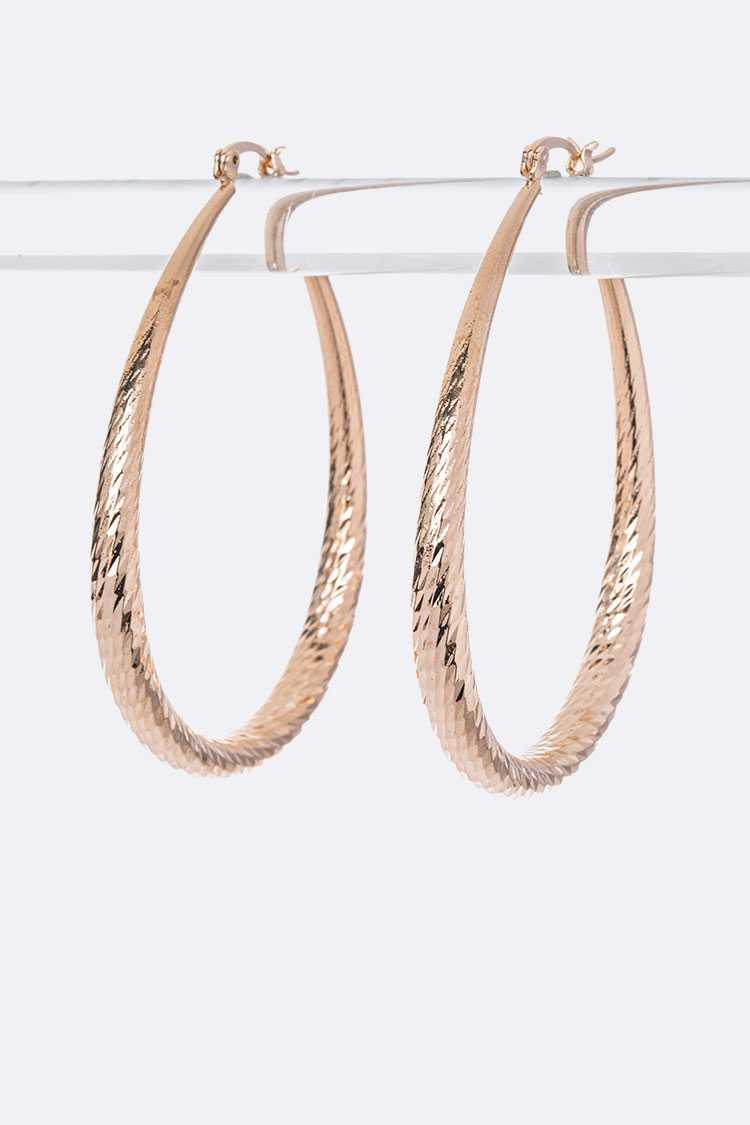 Textured Teardrop Iconic Hoop Earrings