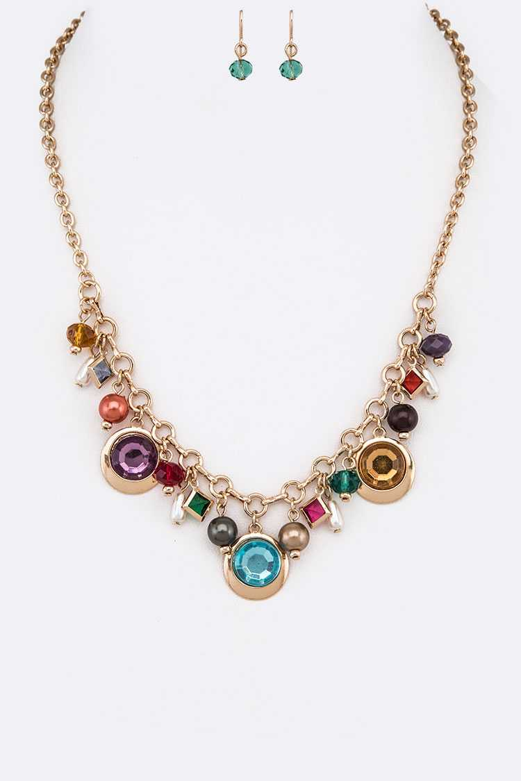 Bejeweled Mix Drop Necklace Set