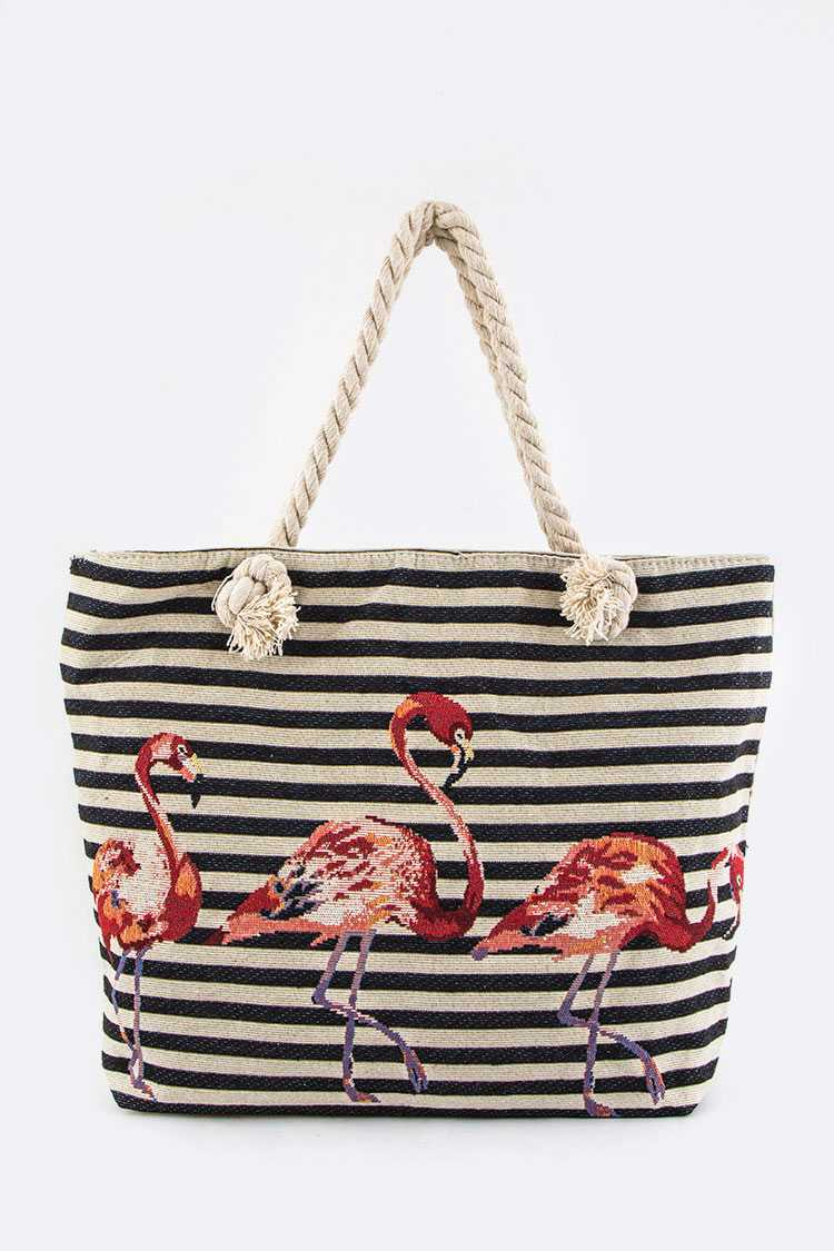 Flamingo Strip Canvas Tote