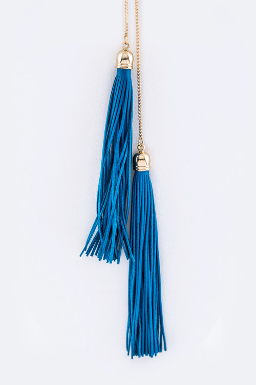 Double Leather Tassels Necklace Set