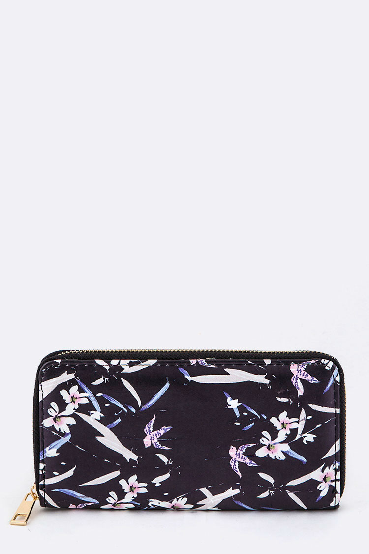 Bird & Flower Pattern Wallet