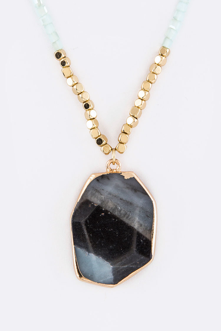 Semi Precious Stone Pendant Layer Necklace