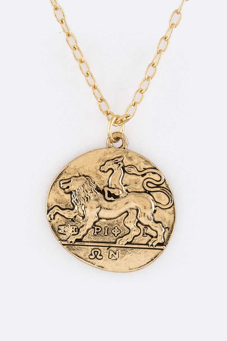 Greek Mythological Coin Pendant Necklace