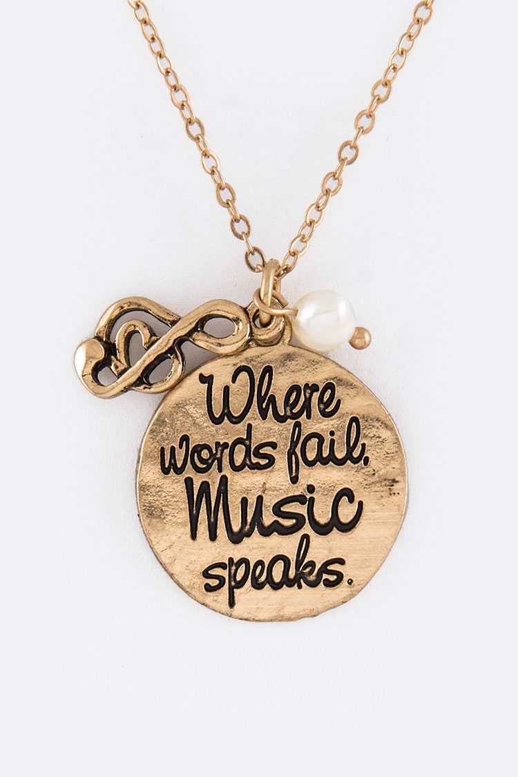 Music Speaks Mix Charms Necklace Set