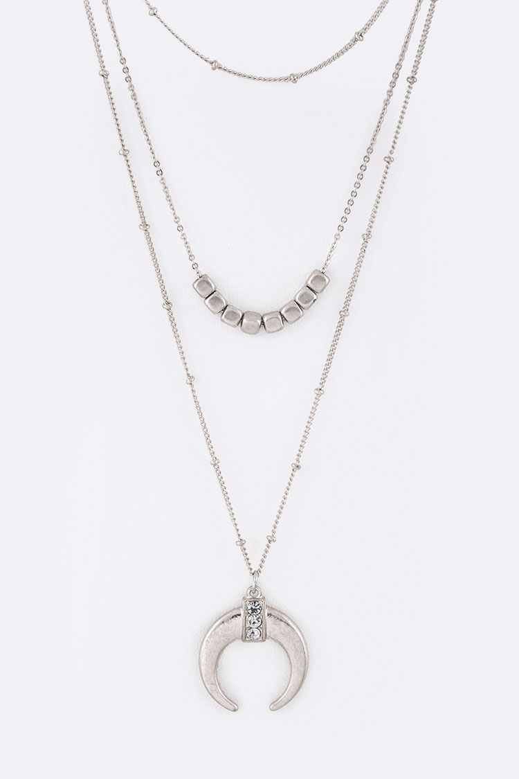 Metal Horn Layered Iconic Necklace