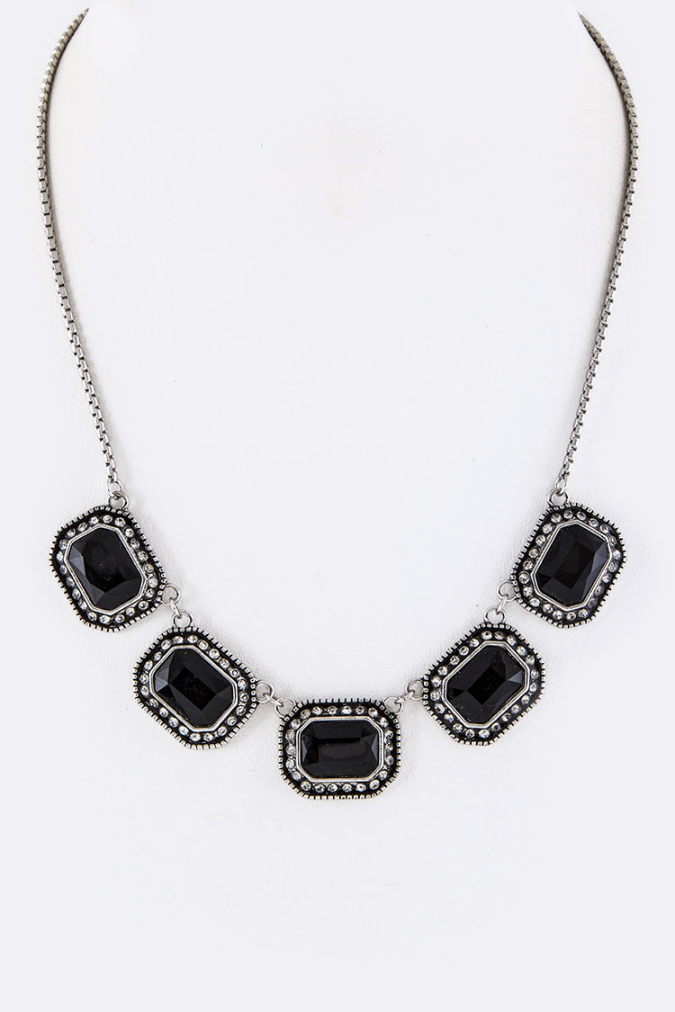 Square Crystals Statement Necklace