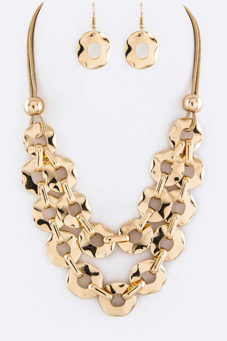 Linked Metal Hoops Layer Necklace Set