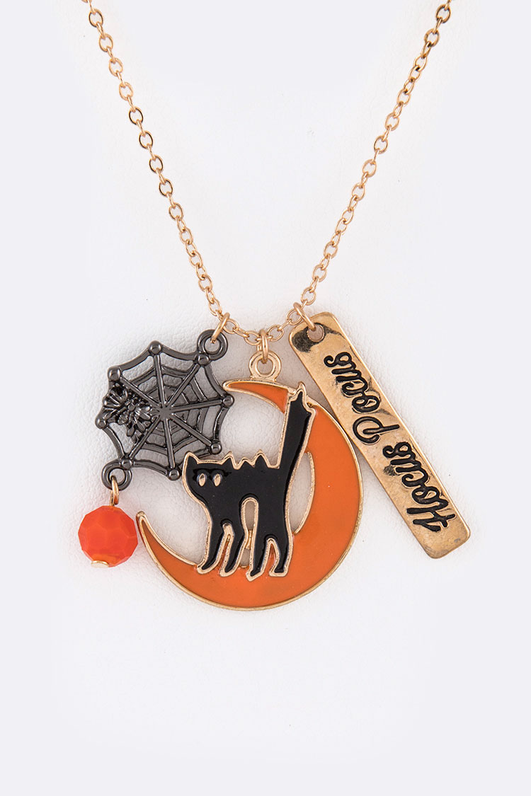 Hocus Pocus Cat & Spider Halloween Mix Pendant Necklace Set