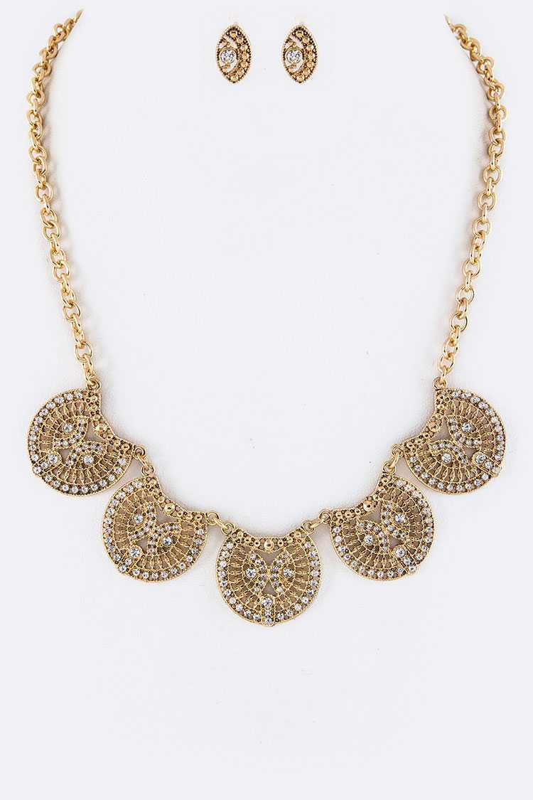 Pave Crystals Filigree Wheels Statement Necklace