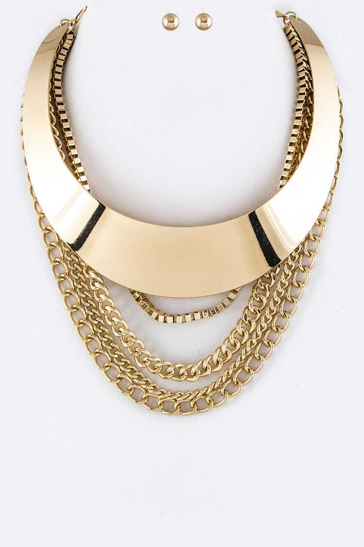 Metal Collor & Layer Chains Necklace Set