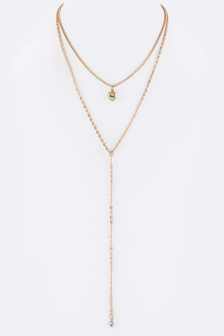 Crystal Drop & Hear Charm Layer Necklace