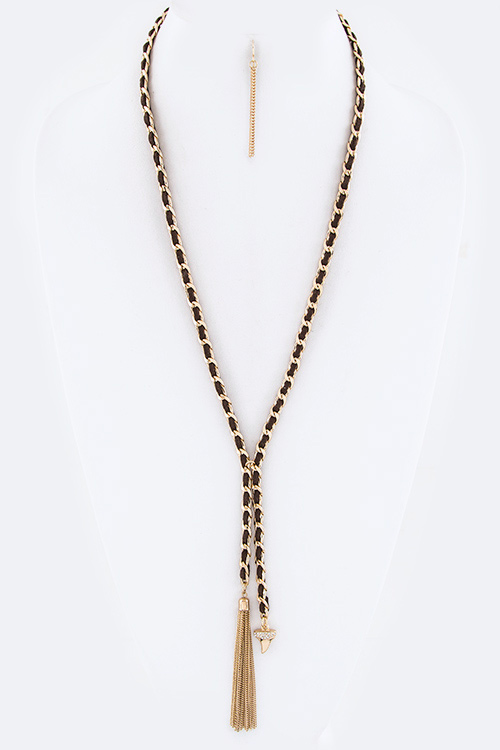 Tassel & Crystal Shark Tooth Drop Necklace Set