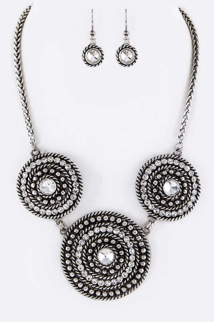 Crystal Medalions Statement Necklace Set