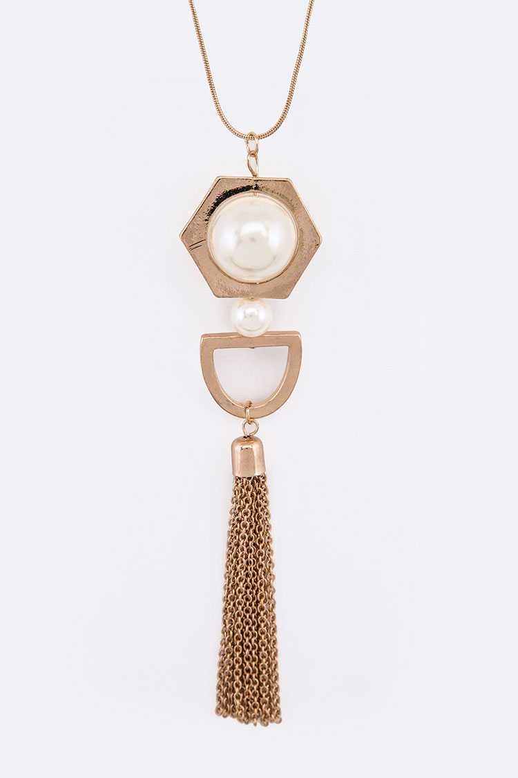 Pearl Accent Chain Tassel Pendant Necklace Set