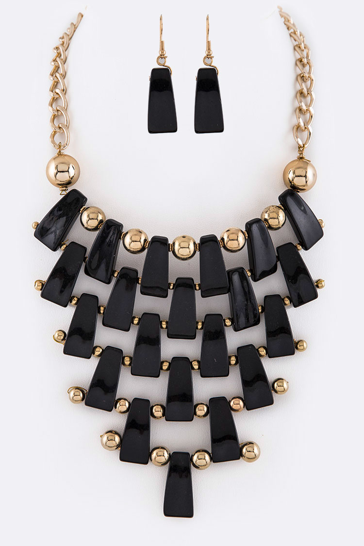 Resin Statement Necklace Set