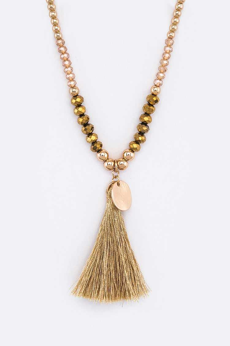 Metallic Tassel Crystal Beads Necklace Set