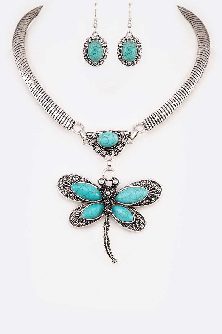 Dragonfly Turquoise Collar Necklace Set