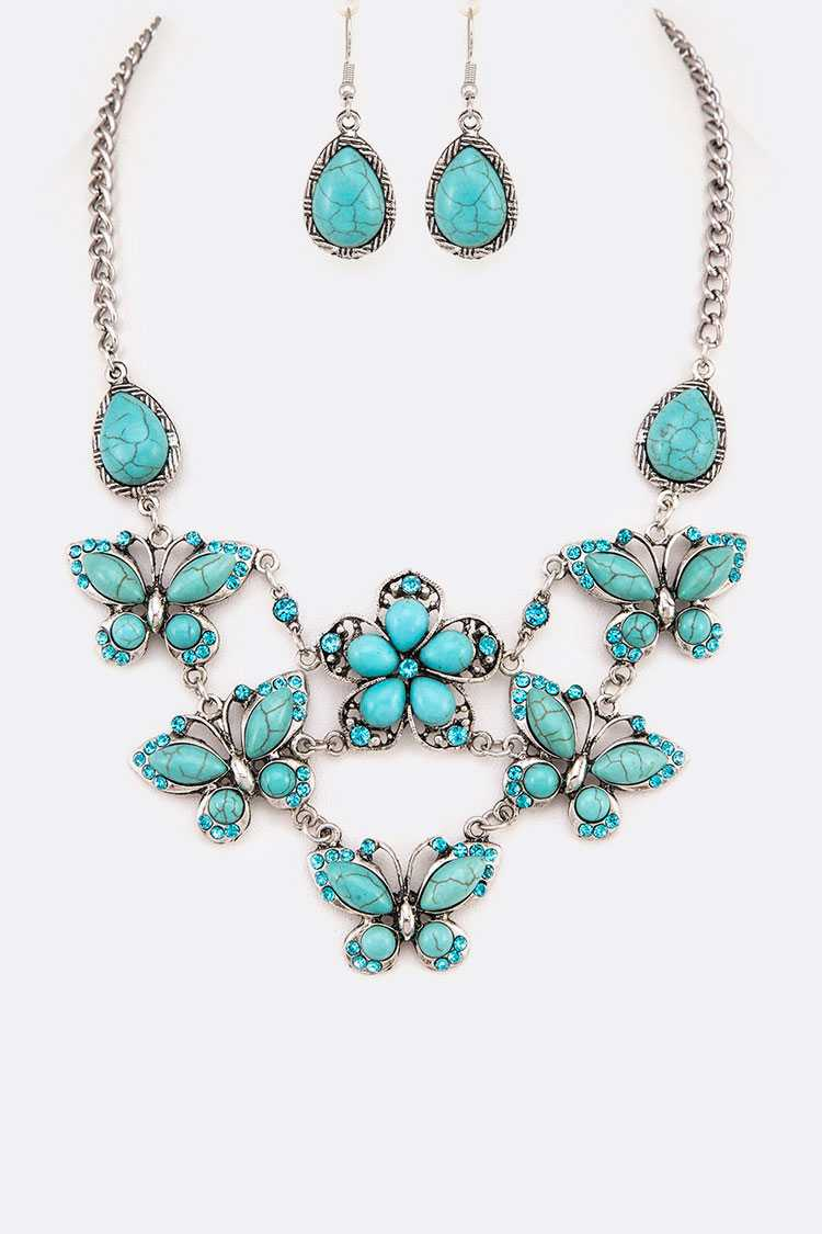 Turquoise Butterfly Statement Necklace Set
