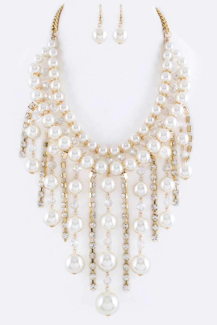 Fringe Pearls & Crystals Statement Necklace Set