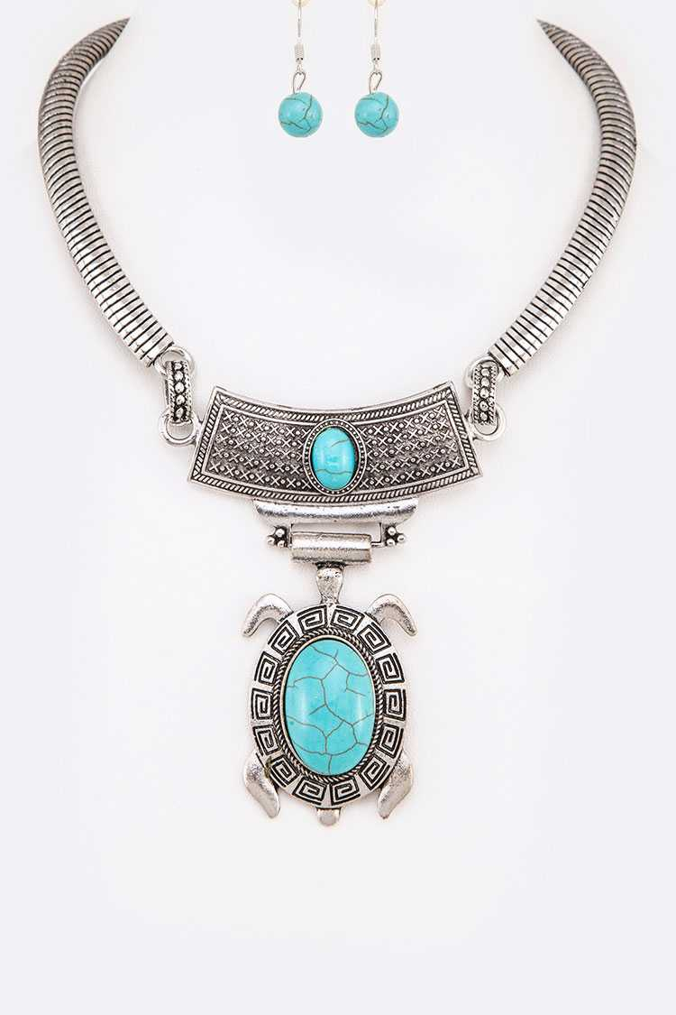 Turquoise Turtle Pendant Collar Necklace Set