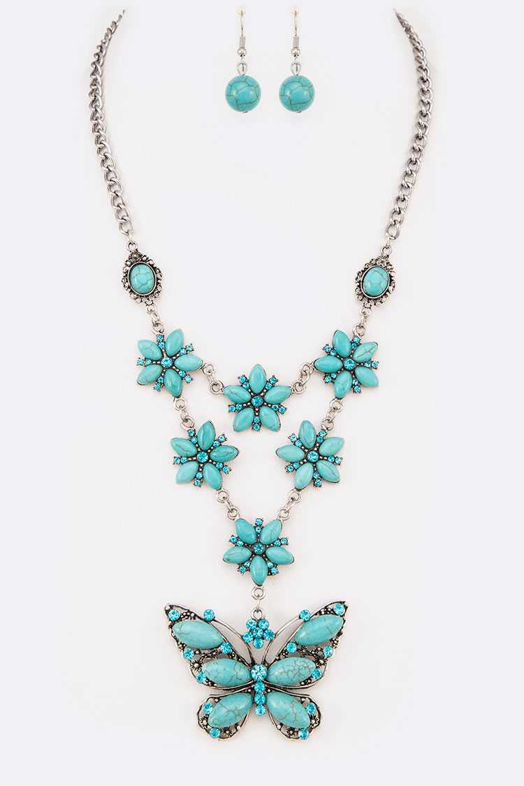 Butterfly Pendant Turquoise Necklace Set