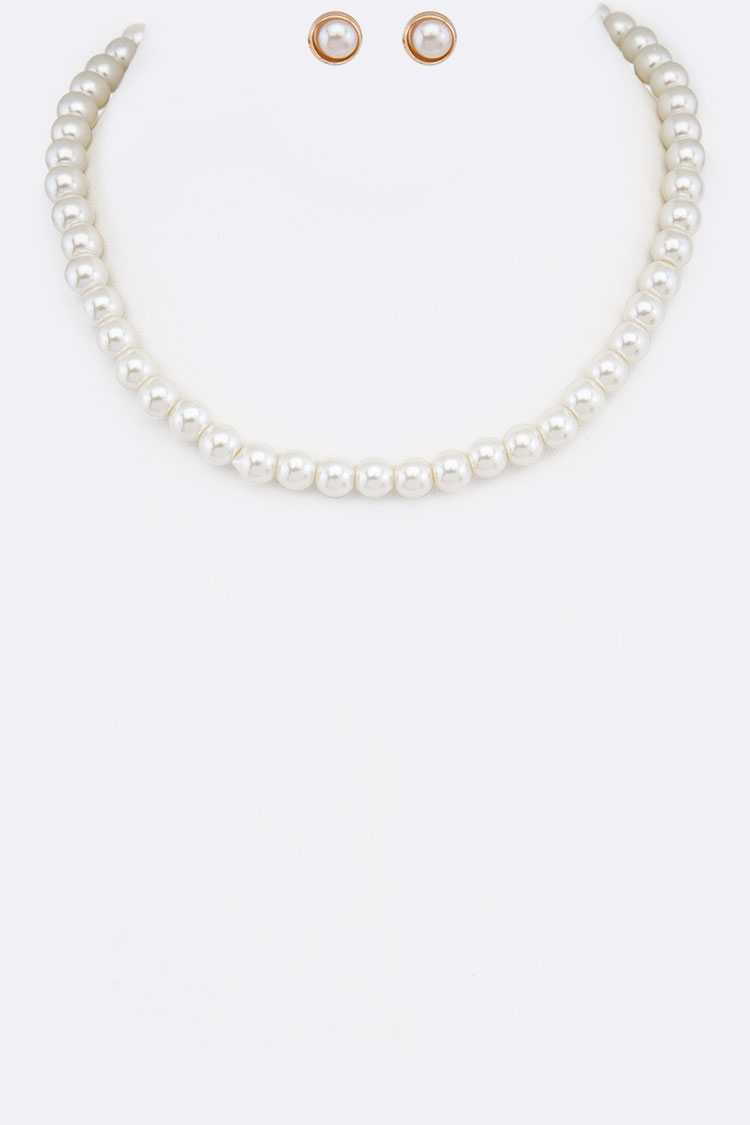Single Pearl Strand Necklace Set